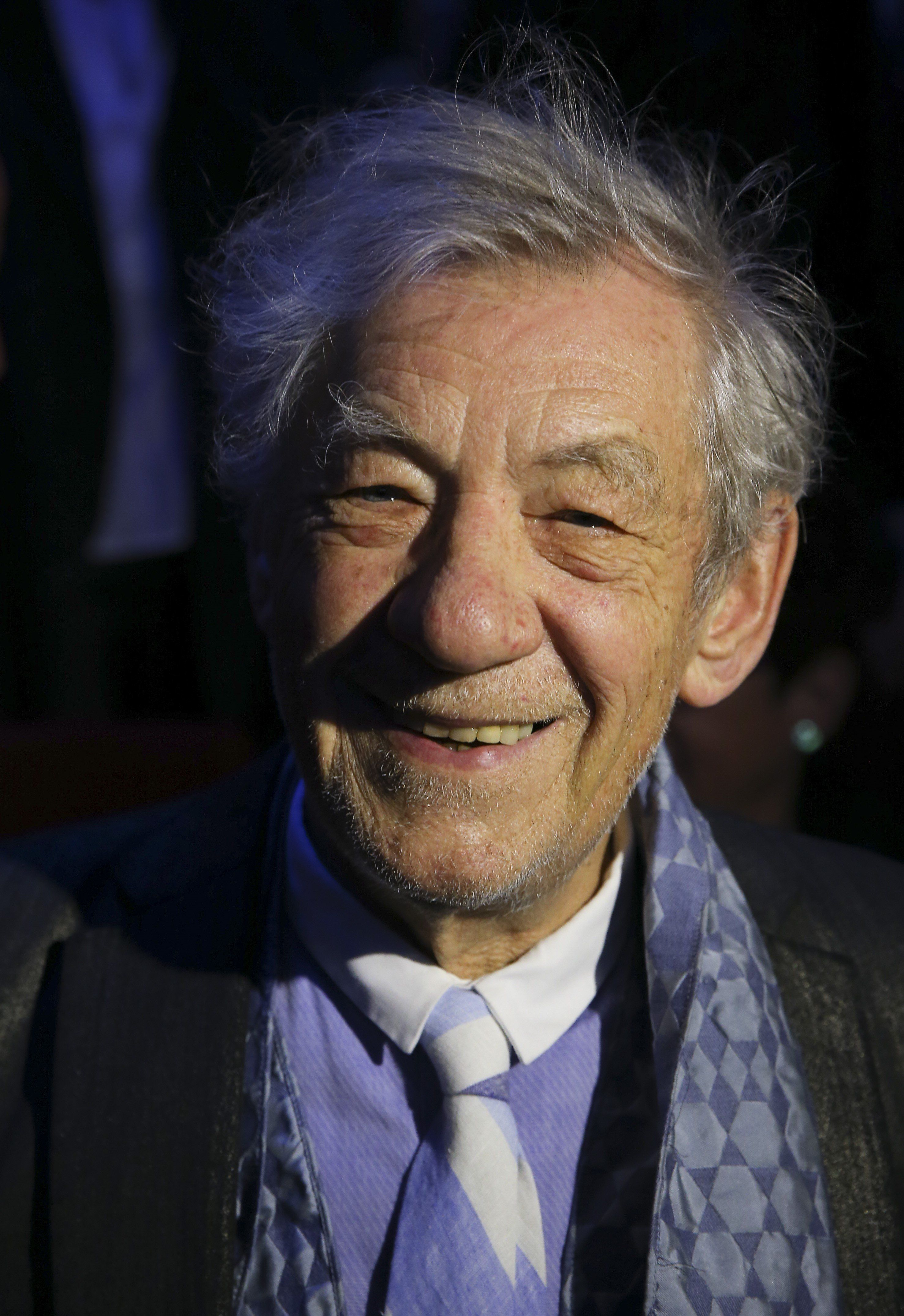 ISTANBUL, TURKEY - APRIL 04: British artist Ian McKellen is on the stage as the honorand of the 36th Istanbul Film Festival, organized by Istanbul Foundation for Culture and Arts (IKSV) at Maslak TIM Show Center on April 04, 2017, in Istanbul, Turkey. (Photo by Bulent Doruk/Anadolu Agency/Getty Images)