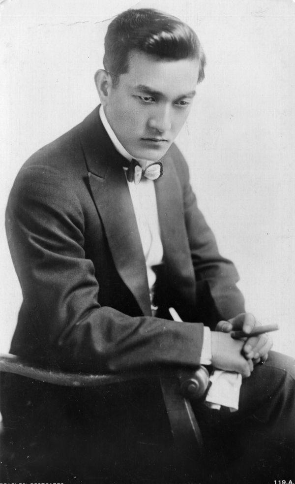 Considered a major Hollywood heartthrob on par with Valentino in the 1910s and 1920s, brooding Japanese actor Sessue Hay