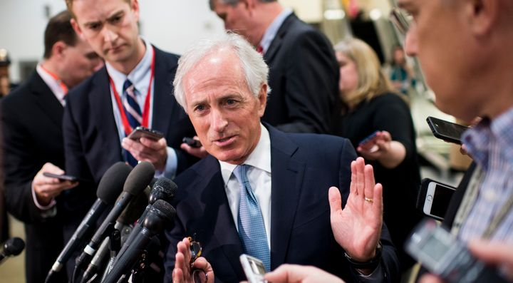 Sen. Bob Corker, R-Tenn., speaks with reporters before the start of a briefing on Syria for Senators in the Capitol on Friday