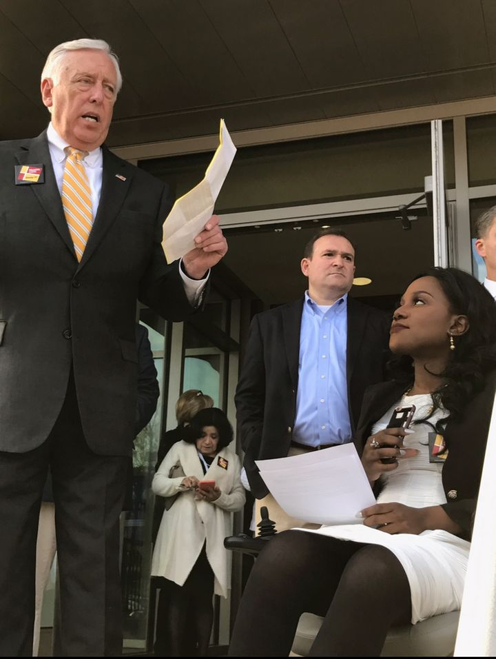 <em>Congressman Steny Hoyer and Ola Ojewumi speaking at a Maryland Affordable Care Act rally on January 15th, 2017 held at Bo