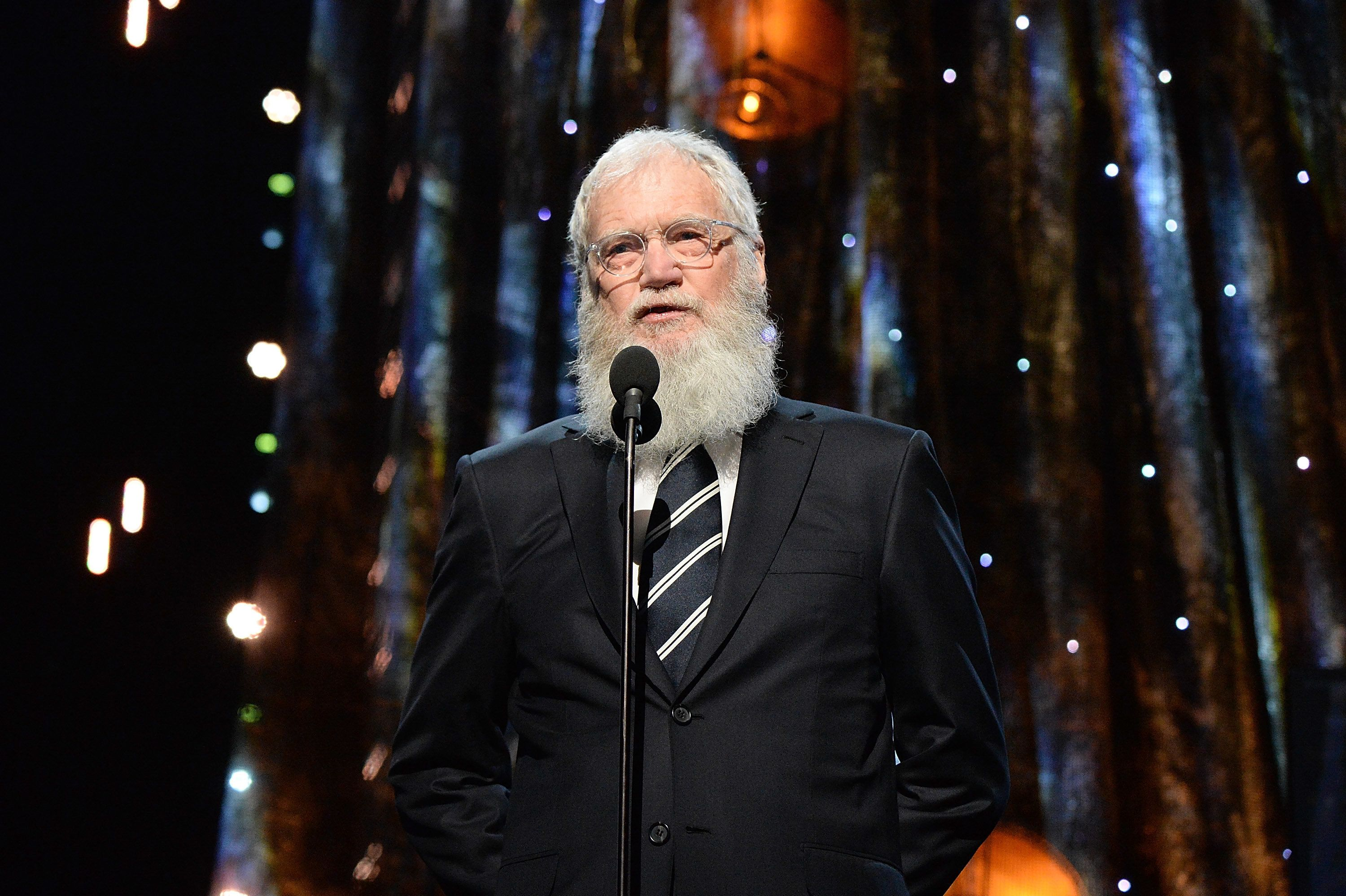 NEW YORK, NY - APRIL 07:  David Letterman speaks onstage during the 32nd Annual Rock & Roll Hall Of Fame Induction Ceremony at Barclays Center on April 7, 2017 in New York City. The broadcast will air on Saturday, April 29, 2017 at 8:00 PM ET/PT on HBO.  (Photo by Kevin Mazur/WireImage for Rock and Roll Hall of Fame)