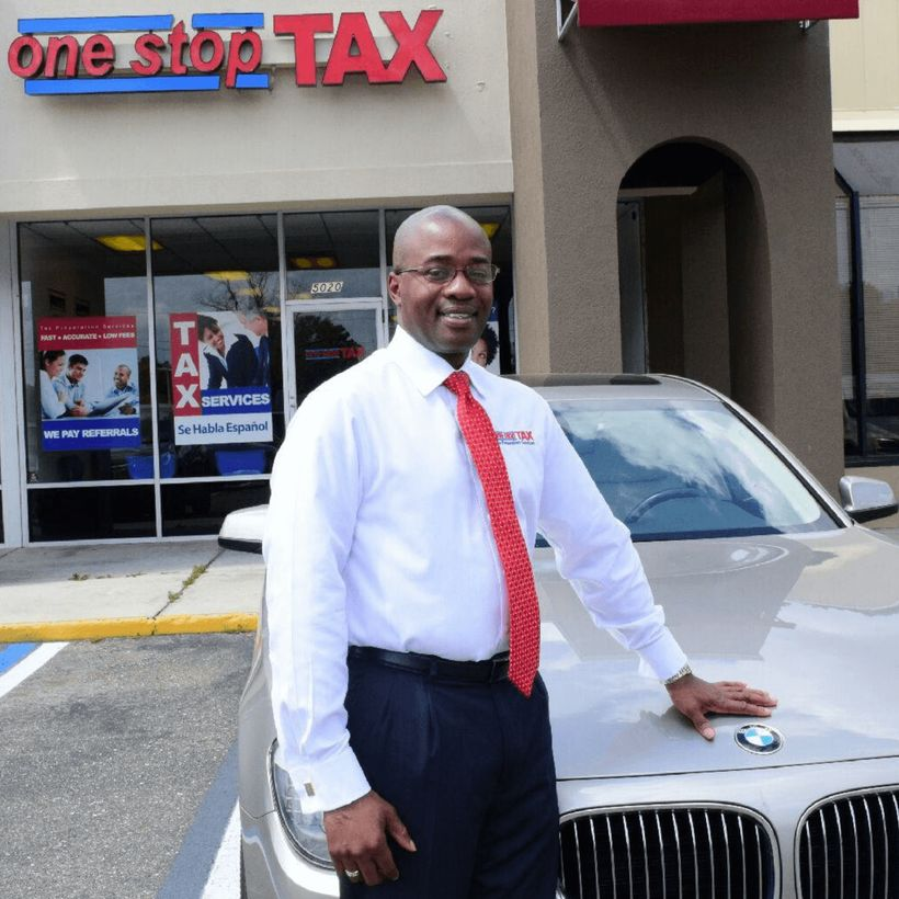 Gregory Grant standing outside of One Stop Tax Jacksonville.