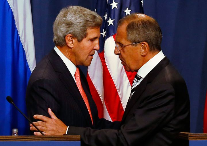 Secretary of State John Kerry and Russian Foreign Minister Sergei Lavrov in September 2013, after announcing an agreement aim