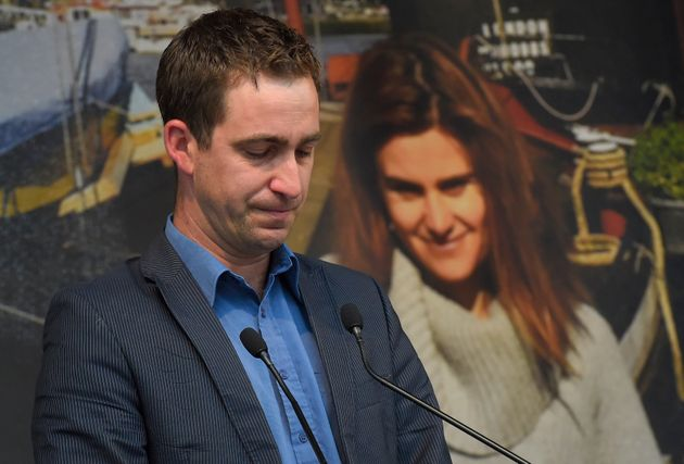 Brendan Cox during a service for his wife last