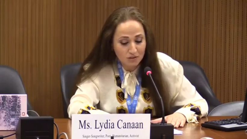 "<em>Lydia Canaan is a singer-songwriter, poet, humanitarian, activist, and United Nations delegate. She is listed as the ""fir"