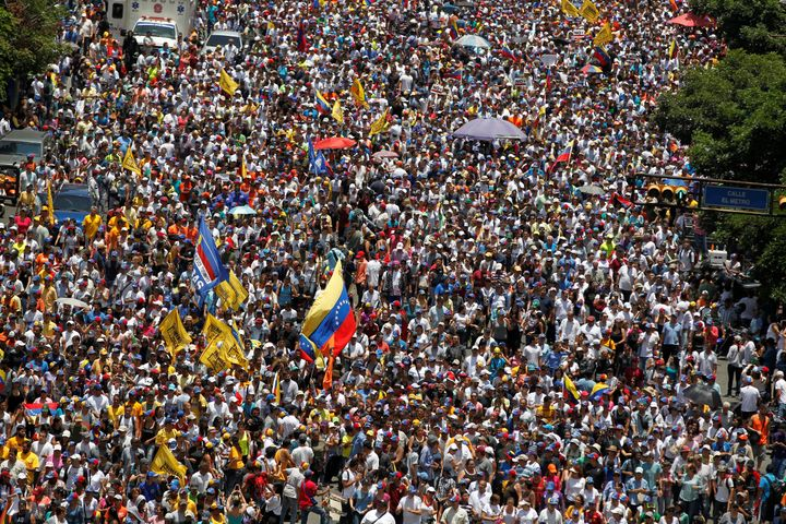Thousands of people rallied in the Venezuelan capital Caracas on Saturday.