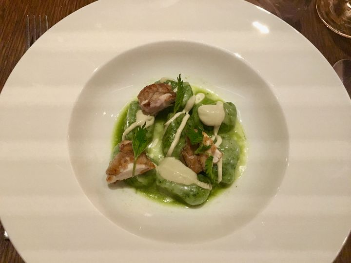 At restaurant Local, Venice: nettle gnocchi with oyster mayonnaise and crisp nuggets of brain