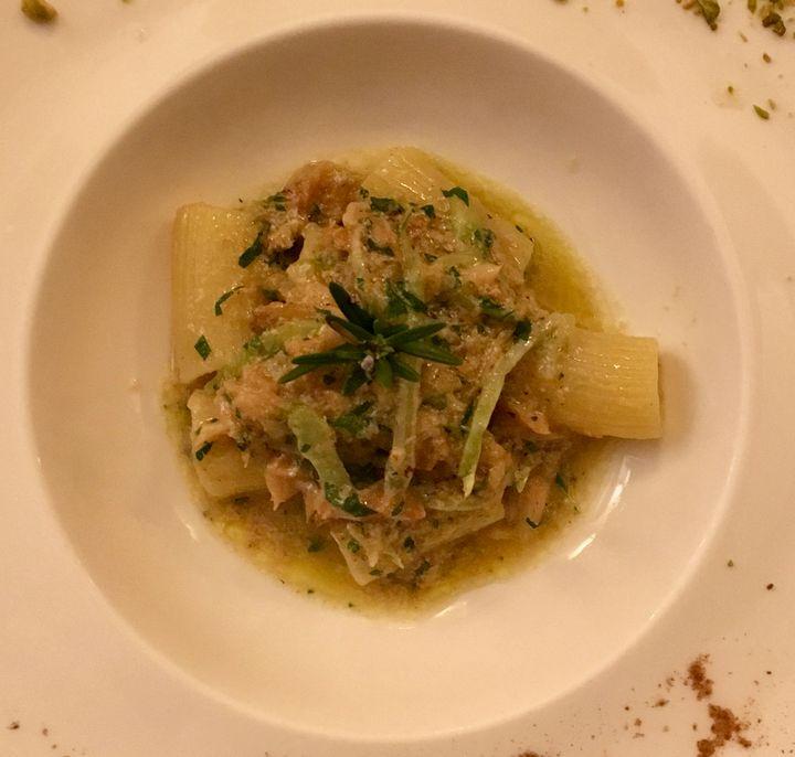 Rigatoni with baccalà and pistachios at Al Covo