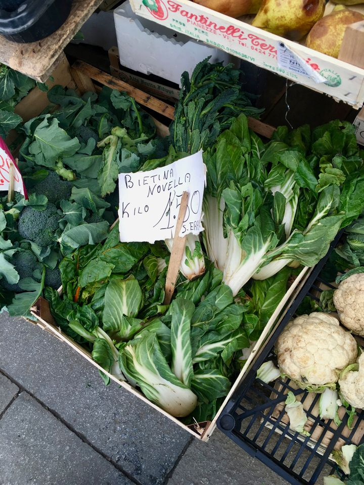 Locally grown new-season chard in Venice - while snow was still on the ground back home in New York