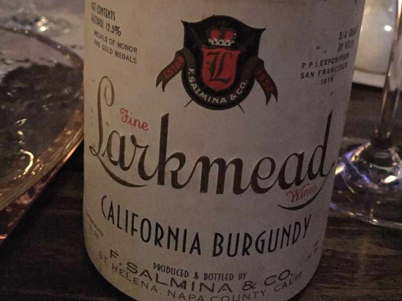 1933 Bottle of Larkmead California Burgundy