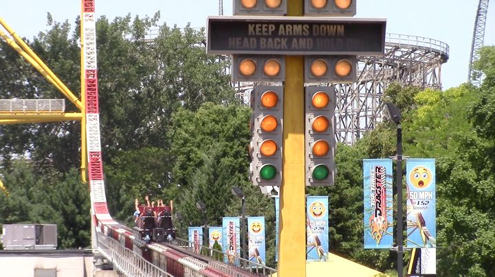 <p>One of the more well known launched coasters, Cedar Point's Top Thrill Dragster</p>