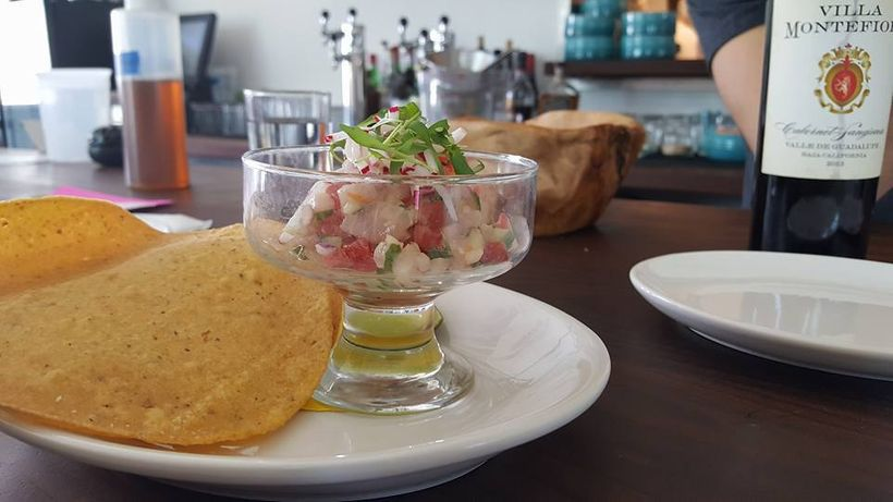 Ceviche with tostadas at Pancito & Lefty's