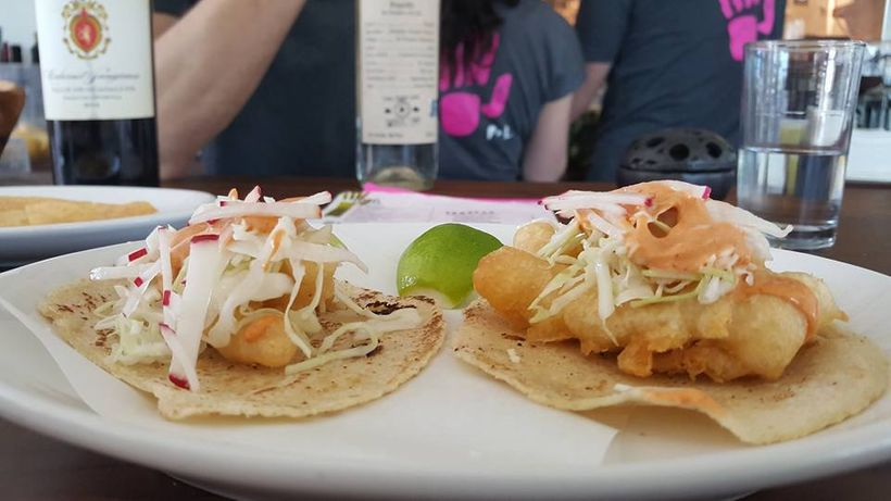 Fish Tacos with Pickled Cabbage, Chipotle Crema, and Lime at Pancito & Lefty's