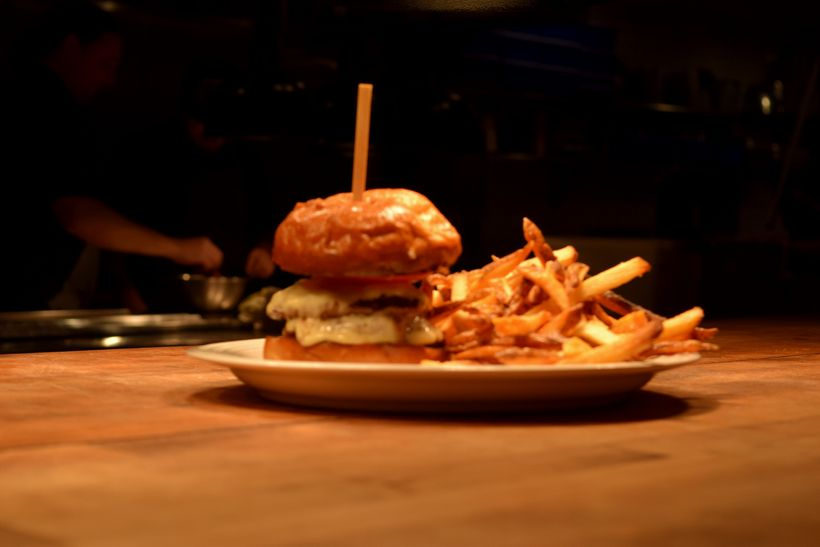 Burger and fries at Edmund's Oast