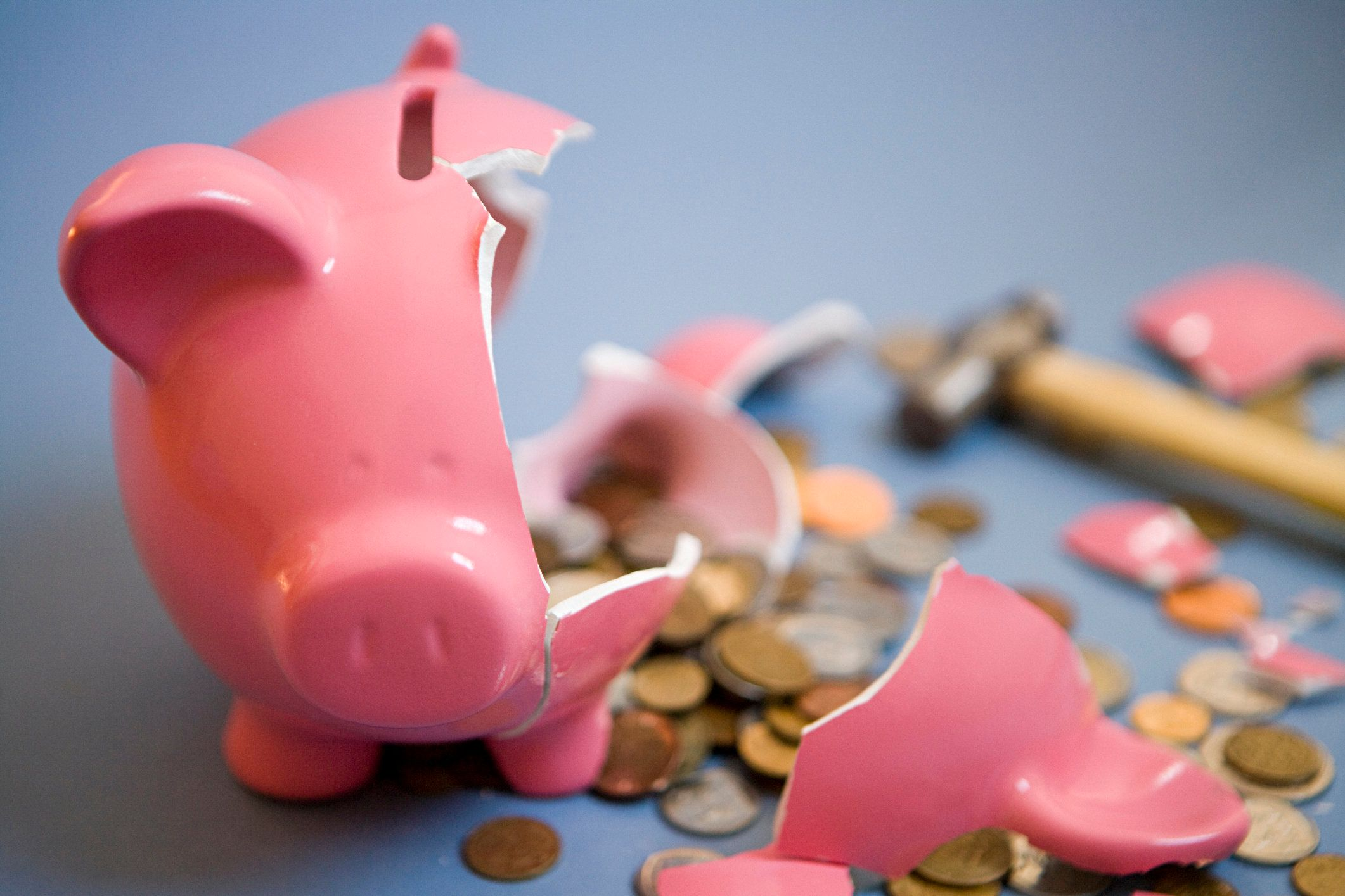 Smashed open piggy bank