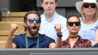LONDON, ENGLAND - JULY 08:  Bradley Cooper and Irina Shayk attend day eleven of the Wimbledon Tennis Championships at Wimbledon on July 08, 2016 in London, England.  (Photo by Karwai Tang/WireImage)