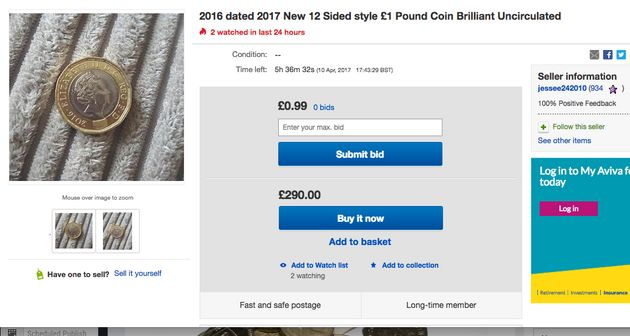 An ebay user trying to sell their coin for