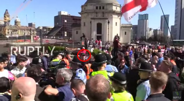 EDL leader Ian Crossland circled in