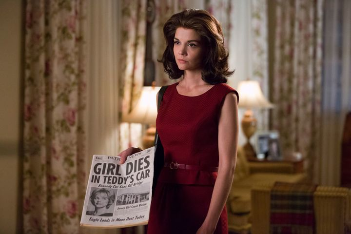 "Katie Holmes as Jackie Kennedy on ""After Camelot."""
