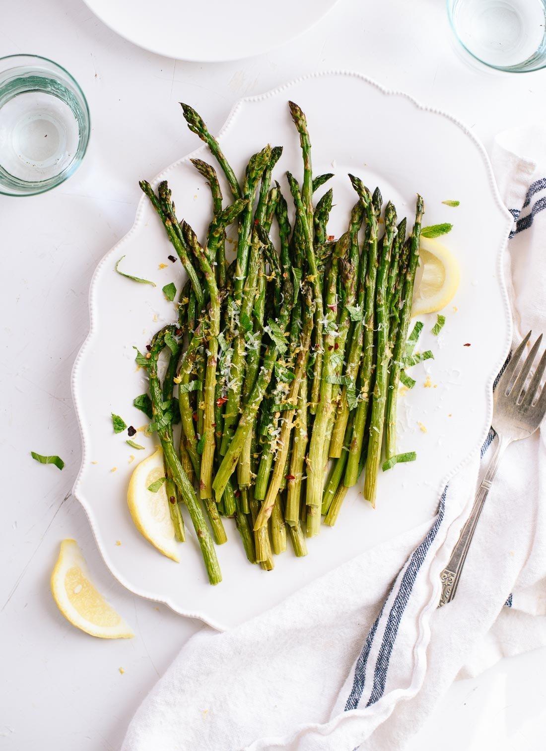 "Get this<a href=""http://cookieandkate.com/2016/lemony-roasted-asparagus-recipe/"" target=""_blank"">Lemony Roasted Asparagus recipe</a>from Cookie + Kate."