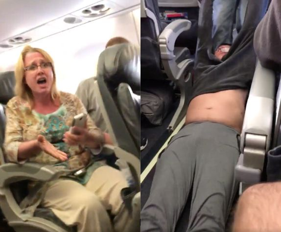 Passengers were seen extremely disturbed as the man was seen being dragged down the aisle of the plane