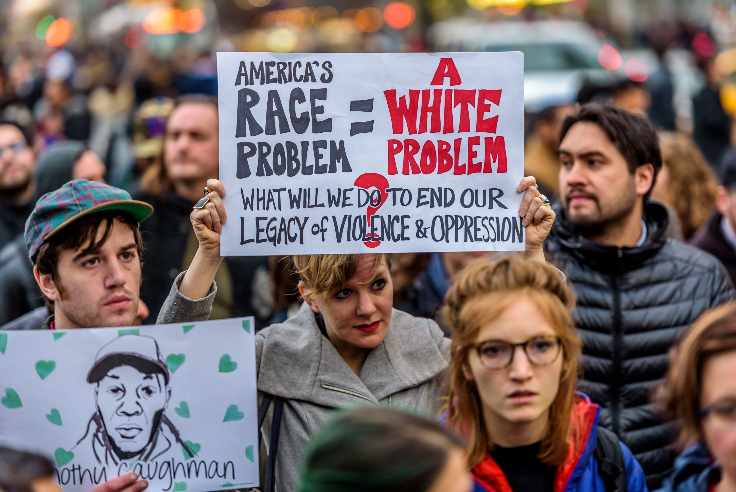 MIDTOWN MANHATTAN, NEW YORK, UNITED STATES - 2017/03/24: A crowd of about 300 people gathered in Union Square on the evening of March 24, 2017; for an emergency action to say Enough is Enough. The crowd rallied and proceed to march to Herald Square in Midtown Manhattan where Timothy Caughman was killed and hold a moment of silence to honor Timothy and other victims of Hate Crimes and to say no to hate crimes and domestic terrorism. (Photo by Erik McGregor/Pacific Press/LightRocket via Getty Images)
