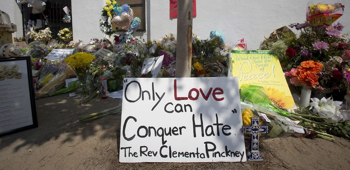 A makeshift memorial for those killed by a white supremacist at Emanuel African Methodist Episcopal Church in June 2015.