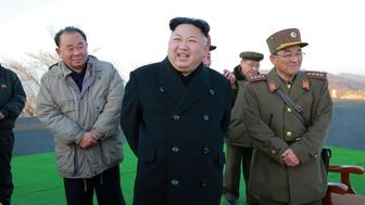 North Korean leader Kim Jong Un supervised a ballistic rocket launching drill of Hwasong artillery units of the Strategic Force of the KPA on the spot in this undated photo released by North Korea's Korean Central News Agency (KCNA) in Pyongyang March 7, 2017. KCNA/via REUTERSATTENTION EDITORS - THIS PICTURE WAS PROVIDED BY A THIRD PARTY. REUTERS IS UNABLE TO INDEPENDENTLY VERIFY THE AUTHENTICITY, CONTENT, LOCATION OR DATE OF THIS IMAGE. FOR EDITORIAL USE ONLY. NOT FOR SALE FOR MARKETING OR ADVERTISING CAMPAIGNS. NO THIRD PARTY SALES. NOT FOR USE BY REUTERS THIRD PARTY DISTRIBUTORS. SOUTH KOREA OUT. NO COMMERCIAL OR EDITORIAL SALES IN SOUTH KOREA.     TPX IMAGES OF THE DAY