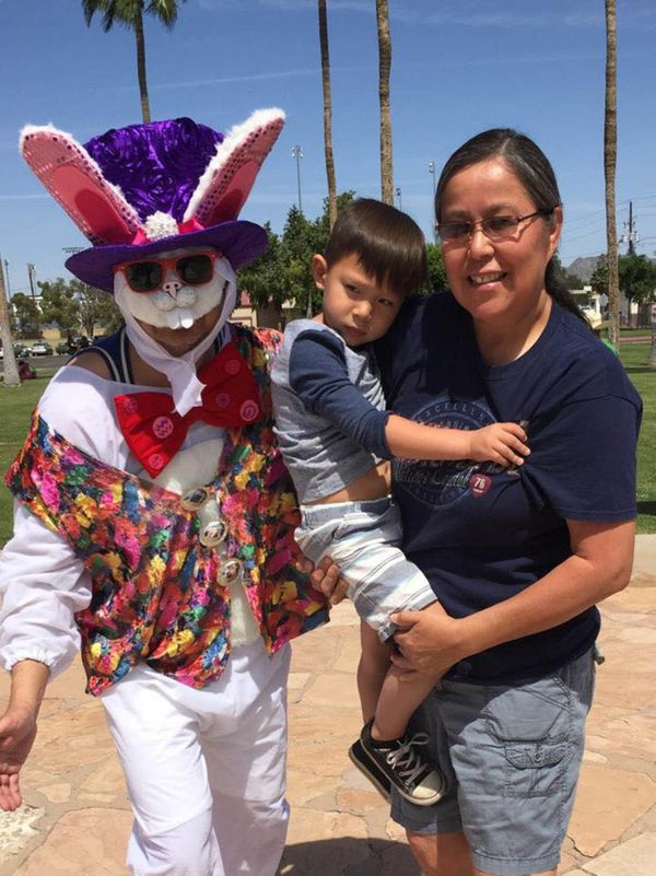 This was two years ago, and my son is still scared of the Easter Bunny! Who can blame him?!