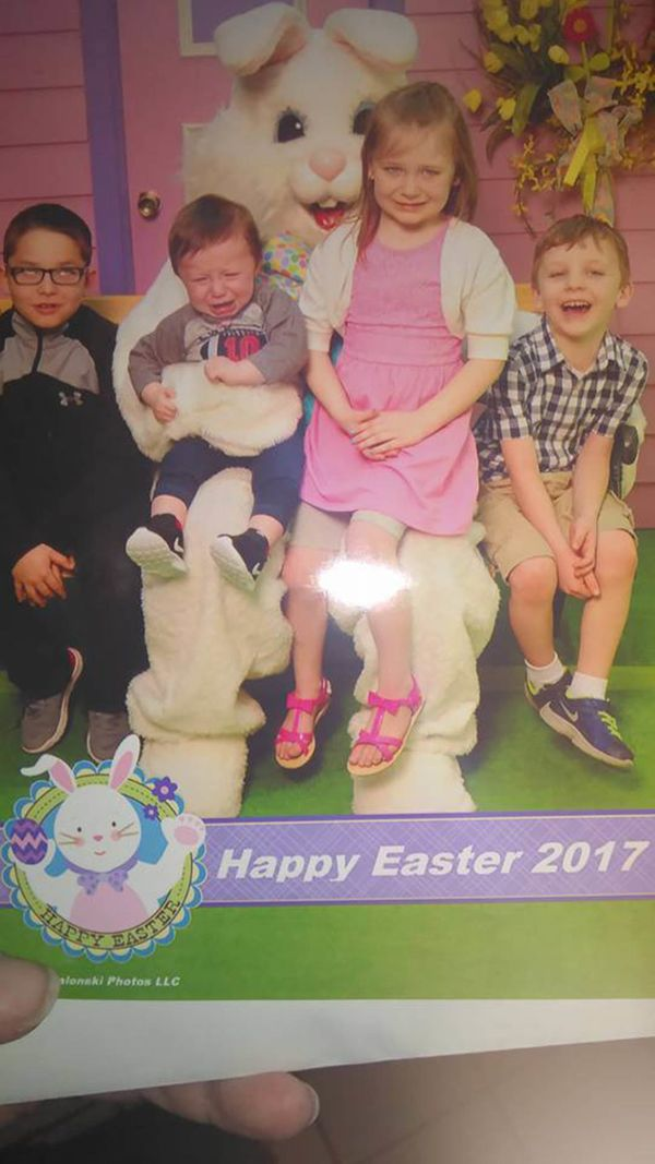 Two crying, an eye roll from the oldest, and hysterical laughter because of the other two crying from one ... sums up my kids