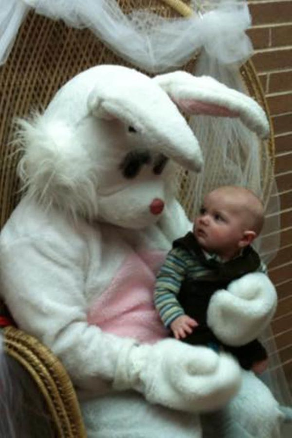 Meeting the Easter Bunny for the first time ... and not so sure about it.
