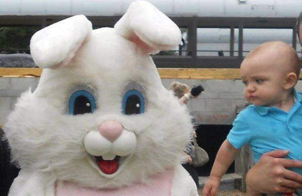 He was very suspicious of the giant white bunny that laid eggs...