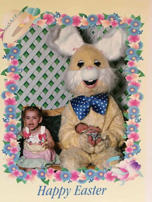 Dirtiest, stinkiest and most disgusting Easter Bunny EVER with my terrified daughter and tiny baby.
