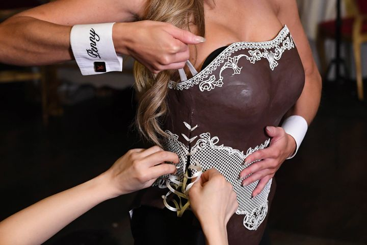 Delbaugh is fitted with an edible chocolate corset and bunny ears.