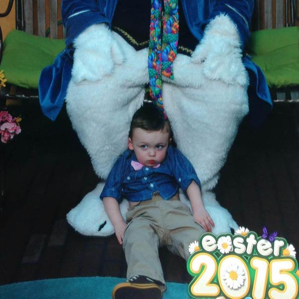 Wasn't going to force him to sit on the creepy Bunny's lap. This is the priceless result.