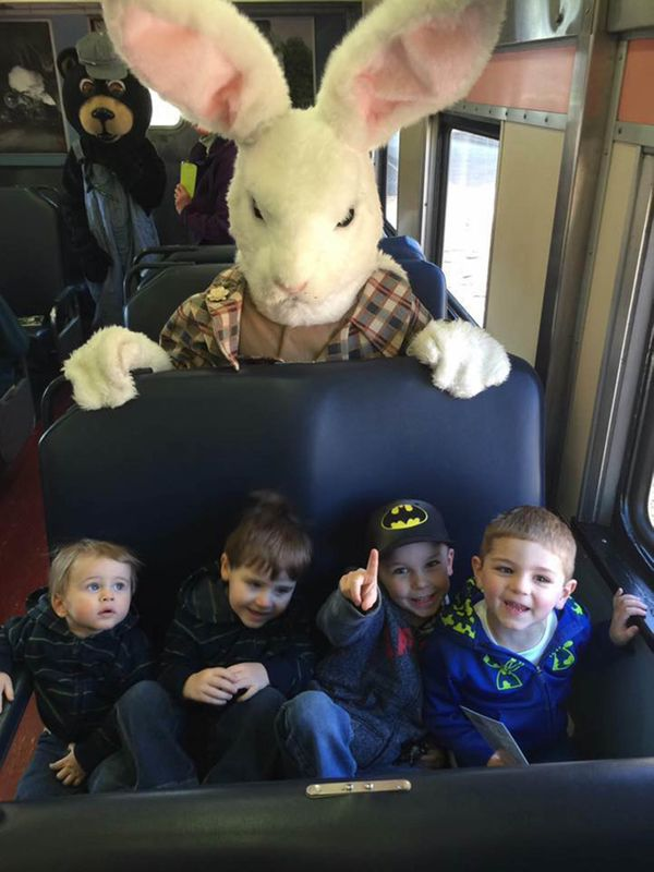 Unruly children and an evil-looking Easter Bunny.