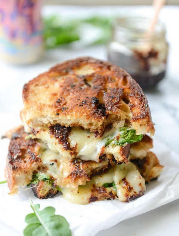 """<strong>Get the <a href=""""http://www.howsweeteats.com/2015/07/havarti-and-arugula-grilled-cheese-with-smoky-bacon-jam-and-trip"""