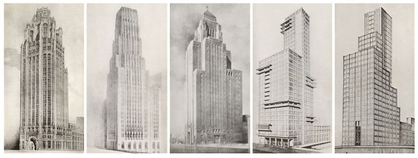 <em>Entries to the Chicago Tribune Tower competition (1922). L-R: John Howells and Raymond Hood (winner), Eliel Saarinen (sec