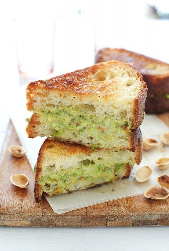 """<strong>Get the <a href=""""http://bevcooks.com/2013/03/grilled-mascarpone-and-roasted-jalapeno-pistachio-pesto-cheese-sandwich/"""