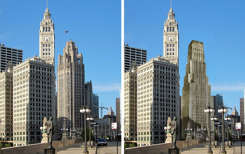 <em>LEFT: Tribune Tower as built, with Wrigley Building on the left. RIGHT: Eliel's Saarinen's design as it would look in pla