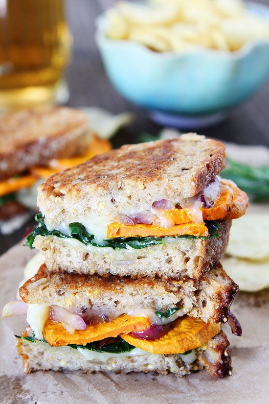 "<strong>Get the <a href=""http://www.twopeasandtheirpod.com/sweet-potato-and-kale-grilled-cheese/"" target=""_blank"">Sweet Potat"