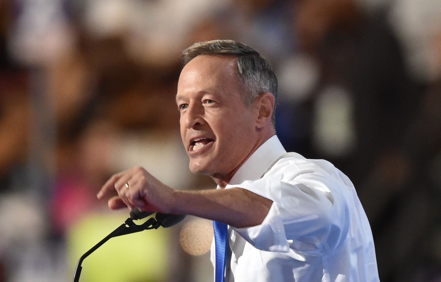 Former Governor of Maryland Martin O'Malley speaks during day three of the Democratic National Convention at the Wells Fargo Center in Philadelphia, Pennsylvania, July 27, 2016. / AFP / Nicholas Kamm        (Photo credit should read NICHOLAS KAMM/AFP/Getty Images)