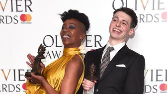 LONDON, ENGLAND - APRIL 09:  Noma Dumezweni (L), winner of the Best Actress in a Supporting Role for 'Harry Potter And The Cursed Child', and Anthony Boyle, winner of the Best Actor in a Supporting Role award for 'Harry Potter And The Cursed Child', pose in the winners room at The Olivier Awards 2017 at Royal Albert Hall on April 9, 2017 in London, England.  (Photo by Eamonn M. McCormack/Getty Images)