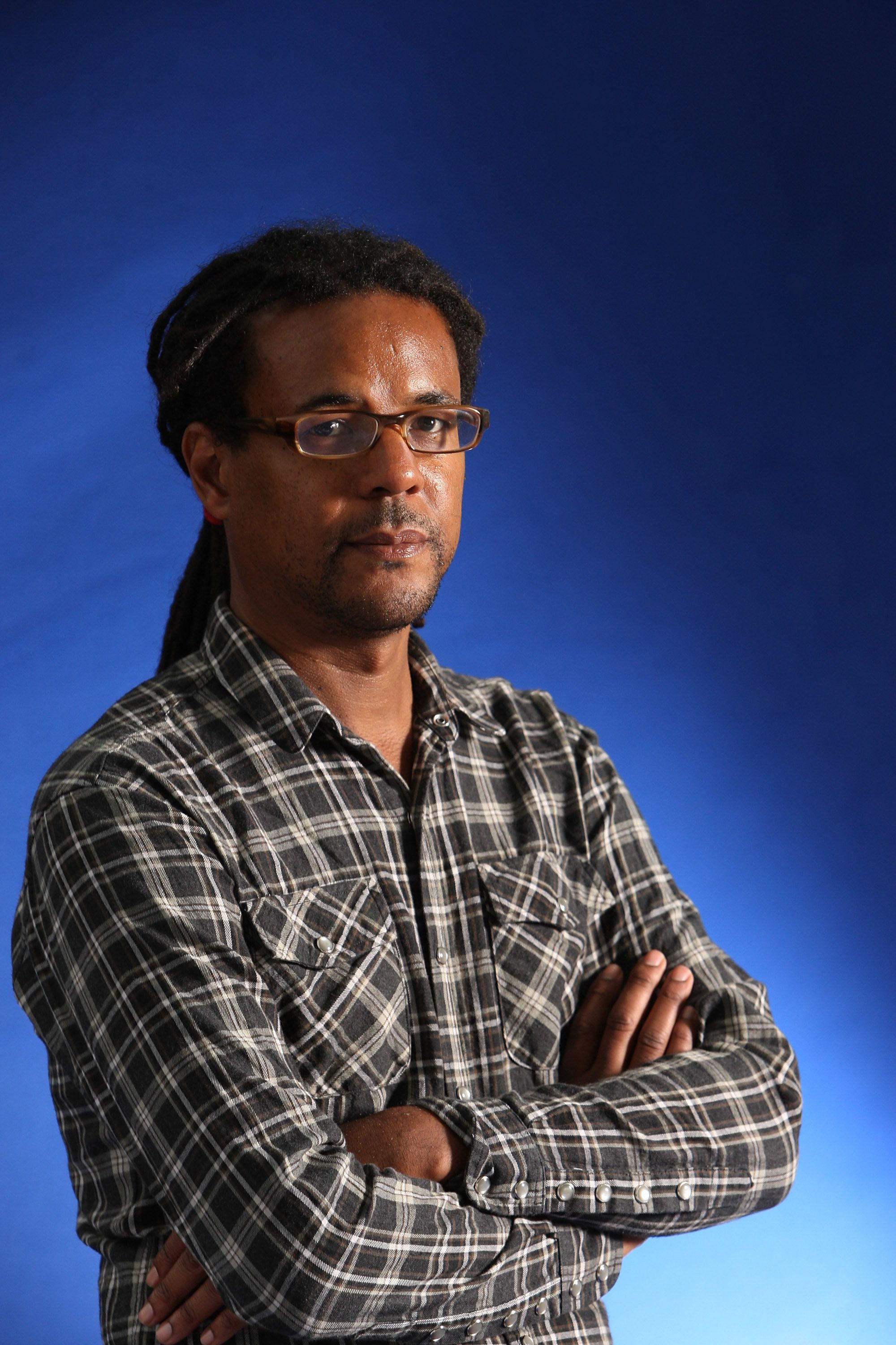 EDINBURGH, SCOTLAND - AUGUST 12:  Colson Whitehead, American essayist and author of horror novel 'Zone One', appears at a photocall prior to participating in the Edinburgh International Book Festival 2012 on August 12, 2012 in Edinburgh, Scotland. Edinburgh is the world's first UNESCO City of Literature, and this year approximately 800 authors will participate in the literary festival.  (Photo by Jeremy Sutton-Hibbert/Getty Images)