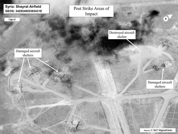 Battle damage assessment image of Shayrat Airfield, according to the Department of Defense.