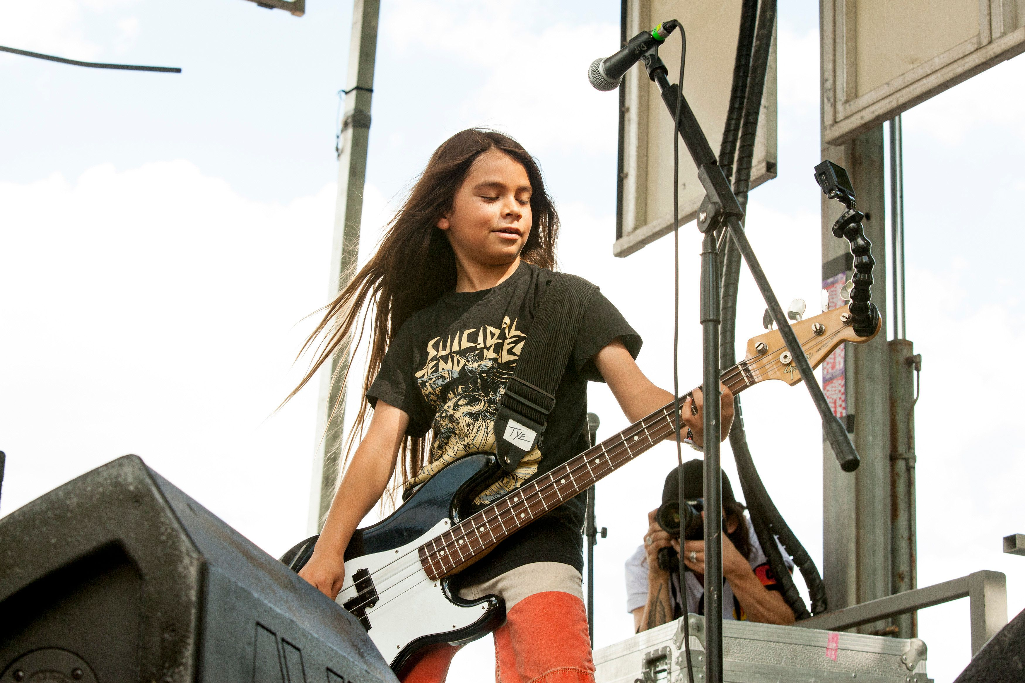 CHICAGO, IL - AUGUST 01:  Tye Trujillo of The Helmets performs during 2015 Lollapalooza Day Two at Grant Park on August 1, 2015 in Chicago, Illinois.  (Photo by Barry Brecheisen/WireImage)
