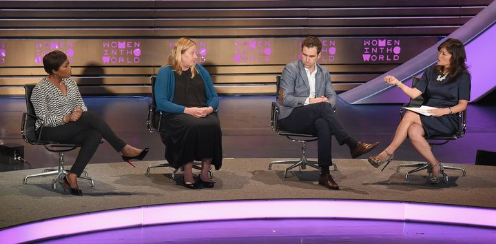 Joy-Ann Reid, Heidi Beirich and Brendan Cox (left to right) discussed defeating white supremacism at a Women in the World panel discussion, moderated by Juju Chang.
