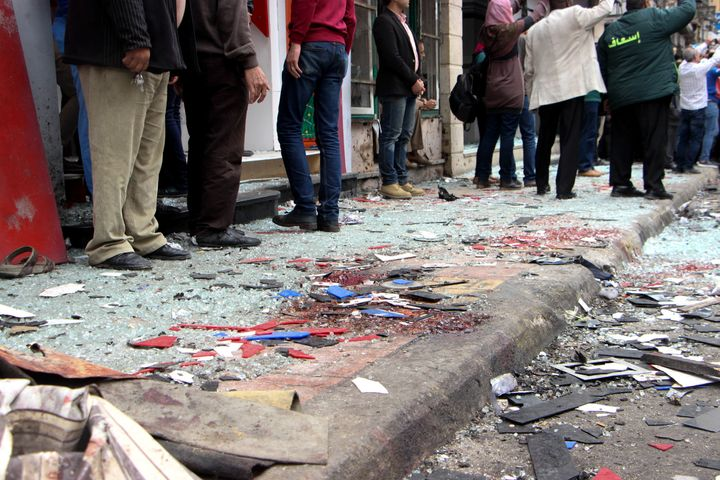 Bombing site is seen after bomb attack near St. Marks Cathedral in the coastal city of Alexandria, Egypt on April 09, 2017.