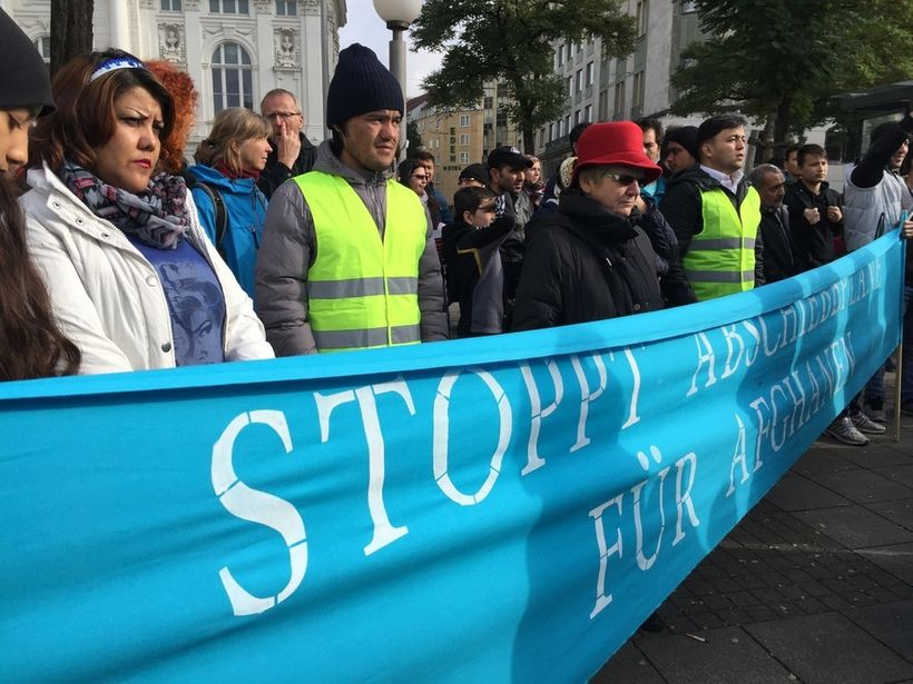 A demonstration in Hamburg against deportations to Afghanistan in November 2016.