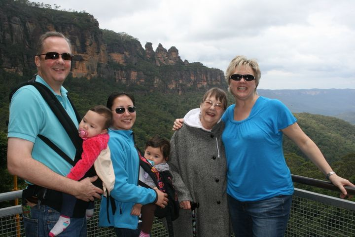 <p>The author and her extended family visiting the Blue Mountains in Sydney, Australia. An 80 year age difference doesn't stop this clan from exploring the world (although we make different choices in activities).</p>